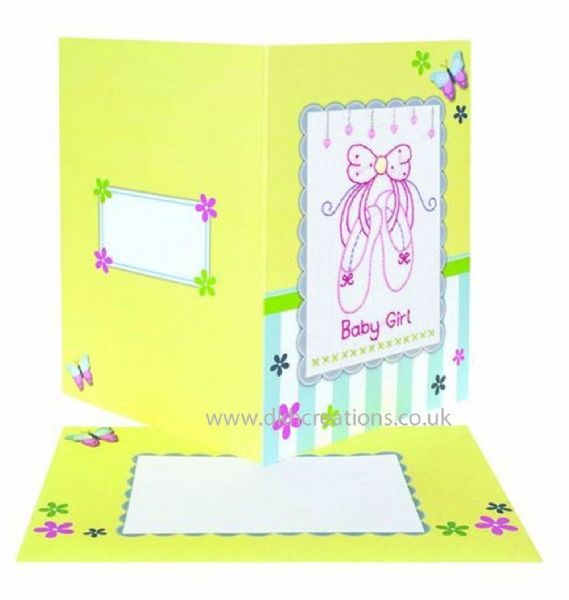 Baby Girl Embroidery Card Kit